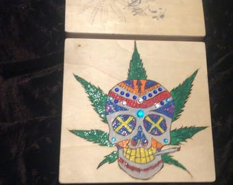 Hand painted sugar skull box with pot leaves