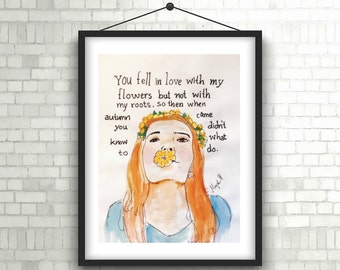 beautiful handmade watercolor girl as flower sketch with quote about love, failure, happiness, mysterious, heartbreak, truth and reality