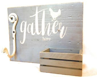 Gather Here Wood Sign with Hook and Wooden Basket