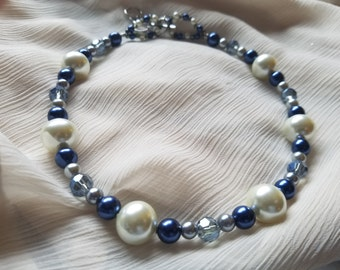 White, blue, and sliver glass pearls paired with light blue crystals