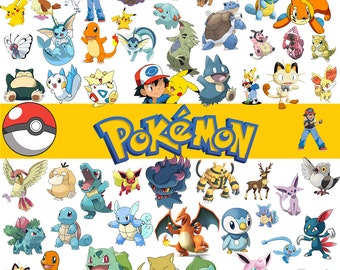 58 Pokemon Digital Clipart Printable PokemonGo PNG images Instant Download Background Scrapbook Party Images