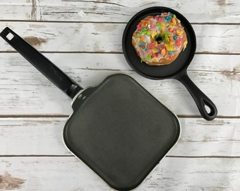 SALE- Set of 2 Small Vintage Skillets Perfect for Blogger Food Photography Props and Photo Styling and Design