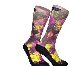 Handmade Sublimated Socks style Argyle Splash