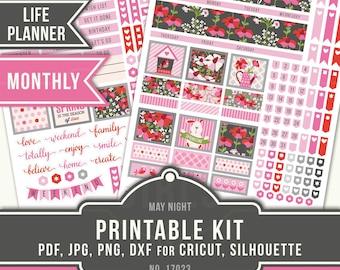 May Monthly Stickers, Erin Condren Monthly Stickers, ECLP May Stickers, Flower Stickers, Floral Planner, ECLP Life Planner, 17023