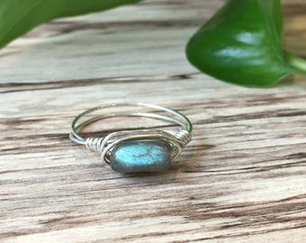 Labradorite Wire Wrapped Ring | Labradorite Gemstone Ring | Sterling Silver | Any Size | February March birthstone