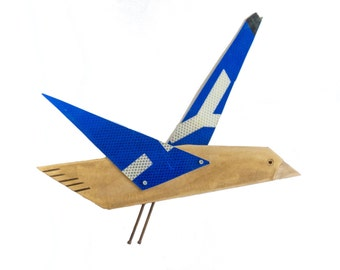 Bird assemblage made from recycled timber and objects