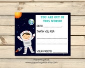 Space stationery, astronaut Note Cards, Kids Thank You Cards, Personalized Stationery, Kids Note Cards / Set of 12