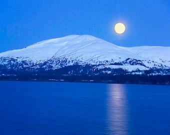 Alaska Full Moon, Alaska Range, USA - Canvas Gallery Wrap