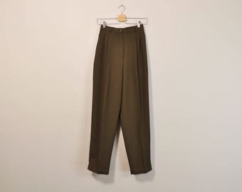 High Waisted Trousers, Minimalist Pants, Moss Green Pleated Trousers, Vintage Womens Pants, 90s Trouser Pants, Loose Fit Slacks, Size 4