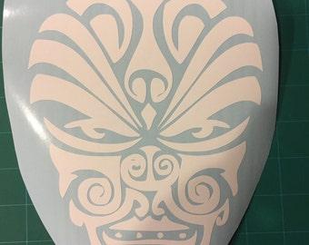 Polynesian Style (New Zealand Maori, Samoa Malietoa, Tonga) Face Tattoo Style Vinyl Decal