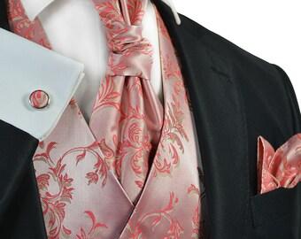 Sugar Coral Tuxedo Vest Set / V7064-12