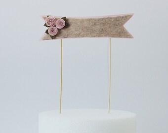 Light Pink Rosebud Paper Banner Cake Topper