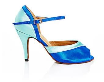 blue dance shoes blue bridal shoes wedding shoes satin dance shoes high