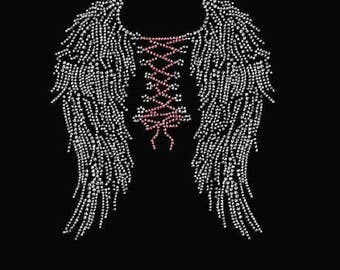 Rhinestone Bling Wings Diamante Ladies T Shirt    or Iron On T Shirt Transfer                                       JDEU