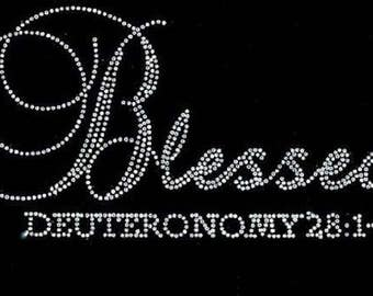 Rhinestone Blessed Deuteronomy Religious Ladies T Shirt   or Iron On T Shirt Transfer                                         OUK9