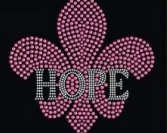 Rhinestone Breast Cancer Hope Fleur   Ladies T Shirt or DIY Iron On Transfer            0J8Y