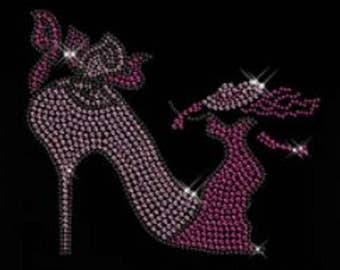 Rhinestone Pink Dress Lady with High Heel T Shirt or DIY Iron On Transfer           UL8I
