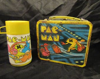 Pac-Man Lunch Box With Thermos - (1980) - Metal - Retro