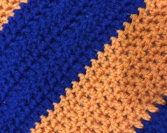 Crochet Baby Blanket / Illini and Chicago Bears Baby Blanket / Navy and Orange