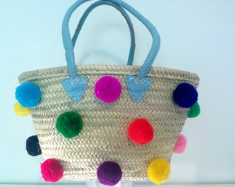 French Market BasketTote with colourful pom-poms