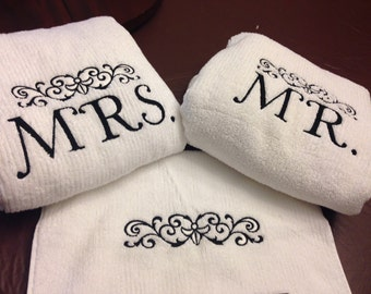 Embroidered Towel Wedding Set