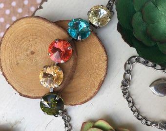 SPRINGY 12mm Five Stone Swarovski Crystal Bracelet