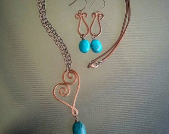 Copper and turquoise jewelry set