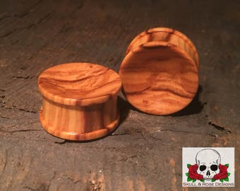"""Olive Wood Plugs Hardwood (Pair) 0g- 1-1/2"""" FREE SHIPPING / Wooden earlets 0g 00g 7/16"""" 1/2"""" 9/16"""" 5/8"""" 3/4"""" 7/8"""" 1"""" 1-1/8"""" 1-1/4"""" 1-3/8"""""""