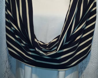 Navy/cream striped jersey shawl scarf