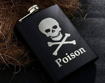 Poison in a flask// Gift for Him // Funny Flask // Hip Flask for Men // 21st Birthday Gift // 7 oz