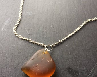 SALE!! Orange seaglass pendant necklace