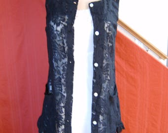 black lace long button up vest with bottom ruffle