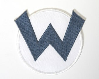 Wario W Logo Patch 3 Inch Super Mario Brothers Embroidered Iron or Sew on Badge Applique Souvenir Retro DIY Costume Mario Kart Allstars Snes