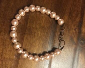 Pink Pearl wire bracelet