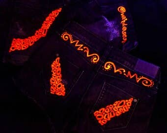 Hotpants jeans Leo, 34 + 36 Leopard grey neon red, sexy neon UV black light