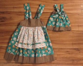 """Matching Girls size 3 dress and 18"""" doll dress"""