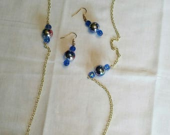 gold chain glass necklace blue, irrodescnet, shimmery, beads, one of a kind handmade faceted beads