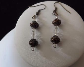 Bronze Spiral with Clear Accent Drop Earrings
