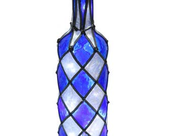 Lighted Bottle With Simulated Leading and Stained Glass