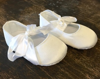 Baby satin ballet shoes christening shoes baptism