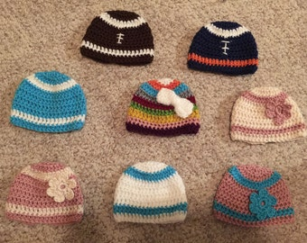 Crocheted newborn to child/small adult hats for boys and girls