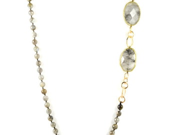 Labradorite Long Statement Necklace With Resin Trim