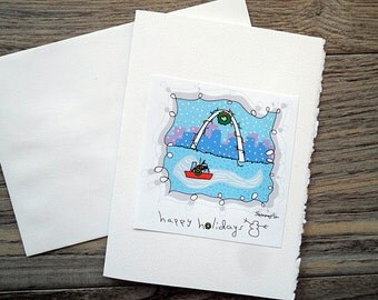 Blank Greeting Card--Whimsical Holiday St. Louis Arch/Digital Image of Original Art