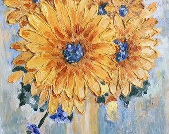Sunflowers Painting Oil / Sunflower Painting / Yellow Flowers Floral Oil Painting / Original Oil Painting on Canvas /