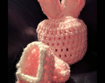 Pink Easter Bunny hat & bootie set