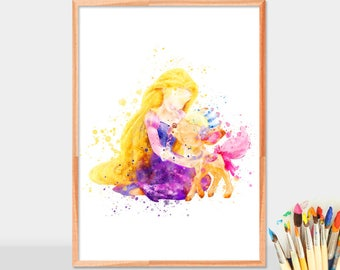 Disney Princess Rapunzel Poster, Rapunzel Print, Tangled Disney Watercolor, Nursery Wall decor, Disney Princess Rapunzel Poster