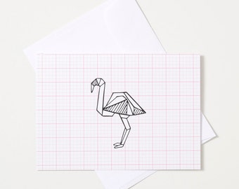 Greeting Card - Origami Animal / Flamingo