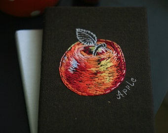Hand embroidery notepad apple