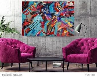 """Painting deep waters series Painting Deep Waters series """"Magic"""" turquoise, dark blue, pink, red"""