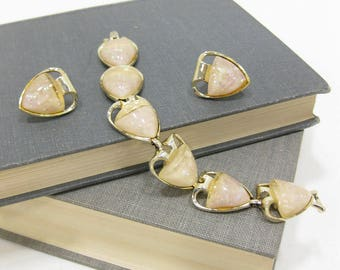 Vintage Coro Gold Tone & Lucite Bracelet and Clip On Earring Set